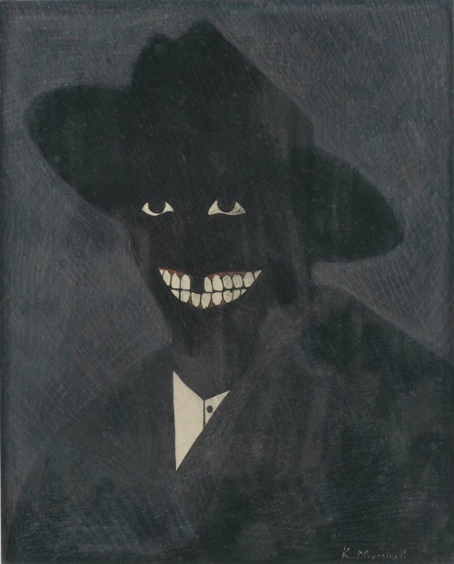 """A Portrait of the Artist as a Shadow of His Former Self"" (1980), egg tempera on paper, 8 by 6.5 inches. Kerry James Marshall / Jack Shainman Gallery, New York"