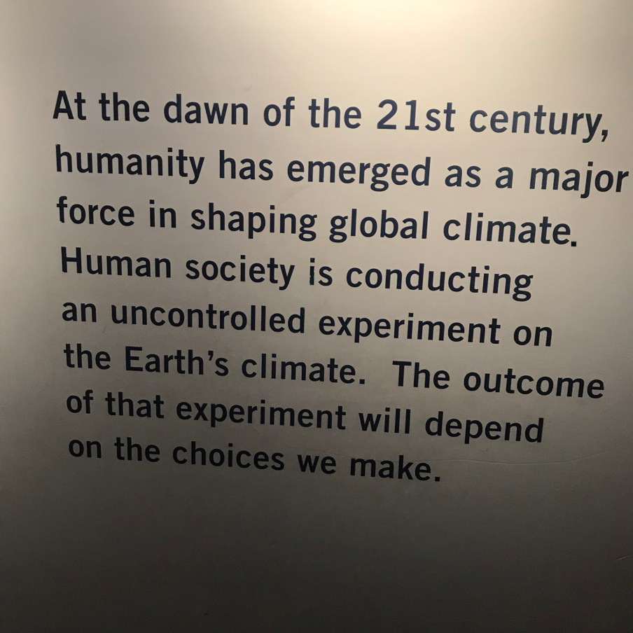 Image taken from the Harvard Museum of Natural History's Exhibit on Climate Change titled